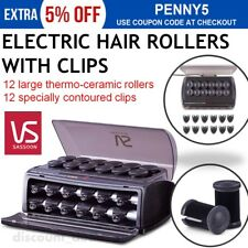 Heated Hair Rollers 12x Rollers 12x Styling Clips Electric Womens Girls Curlers