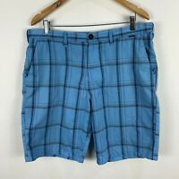Hurley Mens Shorts 36 Blue Plaid Pockets Chino Casual