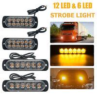 4X 12/24V AMBER RECOVERY CAR STROBE 6LED LIGHTS ORANGE GRILL BREAKDOWN FLASHING