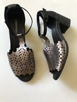 DJANGO & JULIETTE Dressie Pewter Black Leather Mid Heel Sandals Shoes - Size 40