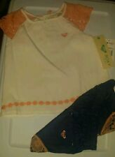 SO CUTE ROXY BABY GIRL'S 2 PIECE SUMMER SET. DENIM/PEACH/CREAM. 3T
