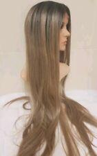 Long Sandy Caramel Grey Brown Ash Blonde Human Hair Wig Lace Front curly