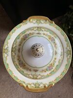 Meito China Made In Japan Tureen. Gold And Green Floral Pattern.