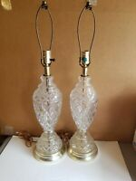 """""""European Collection"""" 24% Pb Crystal Pair 27 1/2"""" Table Lamps, West Germany"""