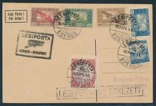 Hungary 1925, Mi. 378 + 383-86 on first flight card Szeged - Budapest,|A18218