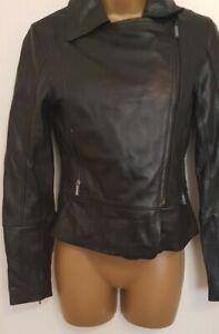 TED BAKER Leather Biker Jacket, Black, Ted Size 0 UK 6