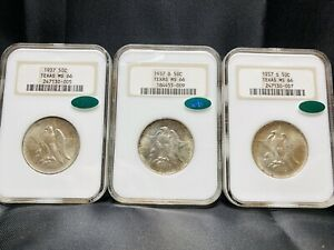 1937 P D S Texas Commemorative Silver Half Dollar NGC MS66 CAC Fatty Set Of 3