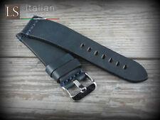 Cinturino in Pelle Bufalo Vintage ILLINOIS 24 mm Watch Strap Band Blu scuro