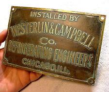 Brass Industrial Refrigeration Nameplate Machine Age Steampunk 1900s-1910s ?