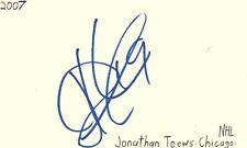 Jonathan Toews Chicago Nhl Hockey Autographed Signed Index Card Jsa Coa