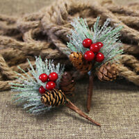 12pcs Artificial Flower Red Christmas Berry Pine Cone Picks Stems Xmas Tree AU
