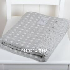 BRONTE Lambswool STUNNING SILVER GREY & CREAM SPOT THROW Blanket Merino Wool