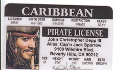 Johnny Depp Pirate novelty plastic collectors card Drivers License