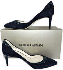 $875 GIORGIO ARMANI Navy Blue Pumps Pointy Toe Black Crystals Shoe 37