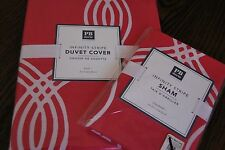 NEW Pottery Barn DORM Infinity Stripe Duvet Cover Pink Size TWIN standard sham