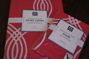 NEW Pottery Barn DORM Infinity Stripe Duvet Cover Pink Size TWIN standard sham