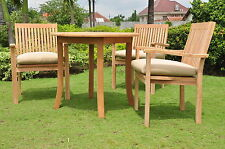 Leve 4-pc Outdoor Teak Dining Patio: 36� Round Table, 3 Stacking Arm Chairs