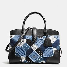 New COACH MERCER 30 CANYON 37976 DENIM blue patchwork canyon satchel Quilt bag