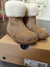 UGG Glitter Leopard boots girls UK 7 with box