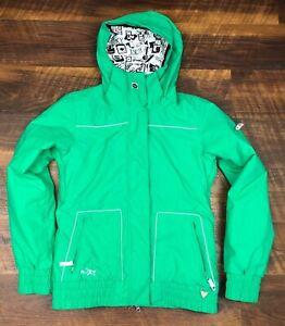 EUC Roxy 5000 Green size XS Nylon Ski Snow Hooded Jacket Women's
