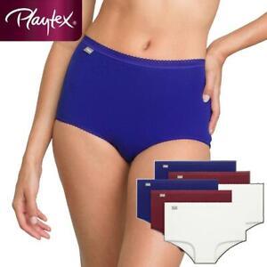 6 Pack Playtex Pure Cotton Stretch Maxi Briefs P00BQ6 White/Red/Blue Womens