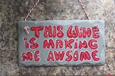 Slate Hanging Plaque Door Wall Sign Family Laugh funny Sayings slogan Gift Wine