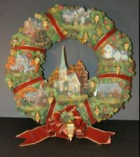 Thomas Kinkade Lighted Autumn Fall Village Wreath Numbered Limited Edition works