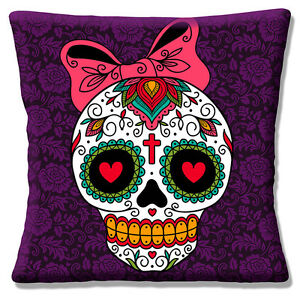 Mexican Sugar Skull Cushion Cover Day of the Dead Girl Pink Bow 16 inch 40 cm