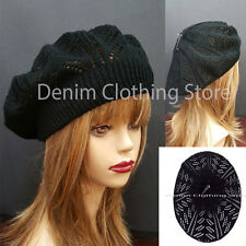Women Girl Summer Spring Black Winter Crochet Knit Slouchy Beanie Beret Cap Hat