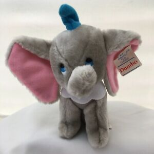 "Disney Dumbo Circus Elephant Gray Pink With Ear Tag Vintage Plush 8"" Toy Lovey"