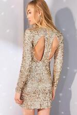 UO Kimchi Blue Metallic Firestarter Long-sleeve Gold Sequin Mini Dress Size XS