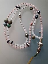 Buddhist White Jade- Rose Quartz 6MM Mala w/ White Resin and Coral Guru Bead