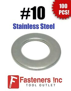 (Qty 100) #10 Stainless Steel Flat Washers .437 OD (18-8 Stainless)