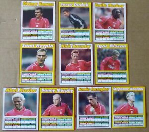LIVERPOOL FOOTBALL CARDS 2002 CHAMPIONS LEAGUE SQUAD FILES x 10