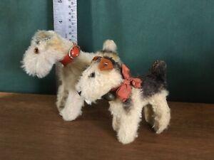 2 vintage STEIFF miniature terry dogs mohair