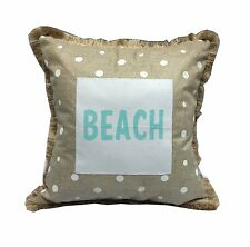 "White Polka Dot BEACH Decorative Throw Pillow, 15"" x 15"", by Transpac"