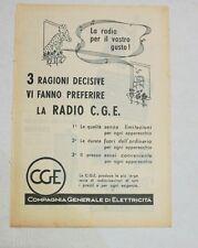 Pubblicità epoca 1939 RADIO CGE RADIOLETTA advertising publicitè reklame werbung