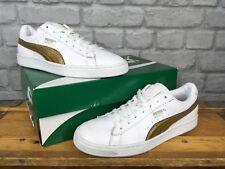 Puma señoras UK 5.5 EU 38.5 Zapatillas cuero metálico oro blanco cesta
