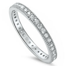 Pave Cz Eternity Style Band .925 Sterling Silver Ring Sizes 3-12