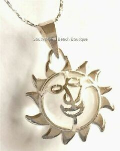 Sterling Silver Smiley Sun Necklace You are my Sunshine Island Life Girls Teen