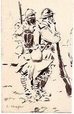 ESQUISSE ENCRE SCENE MILITAIRE 1914-1918 SIGNE Emile CHEPFER