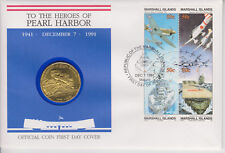 MARSHALL ISLANDS PNC COIN COVER 1991 HEROES OF PEARL HARBOR 10 DOLLAR COIN