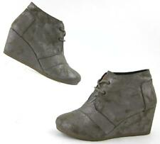 TOMS Desert Wedge Lace Up Ankle Boots Gunmetal Metallic US 6