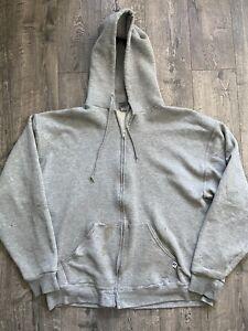 Vintage 1990s Distressed Blank Zip Up Russell Athletic Hoodie Sweatshirt Size L