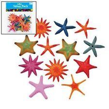24 Colorful Plastic Starfish Assortment Hawaiian Luau Tropical Beach Party Decor