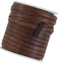 Distressed Brown flat Leather cord 5 mm wide x 1.0 mm thick