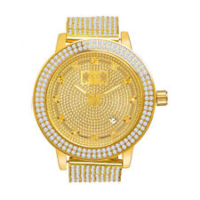 Yellow Gold Tone Real Diamond Mens Jojino/Jojo/Joe Rodeo Custom Bezel Band Watch