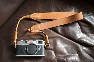Genuine Real Leather Camera Shoulder Neck Strap for EVIL Film Camera Dark Brown