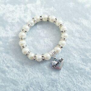 Flower Girl Bracelet, Wedding Thank you, age 3 - 7, Beaded Elasticated Gift
