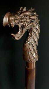 Walking Stick Wooden Cane Style Vintage Dragon Head Copper Antique Metal Handle